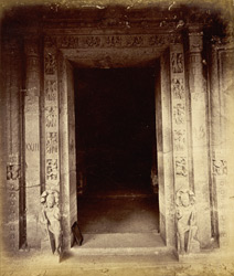 Doorway with flanking sculptures of Buddhist Vihara, Cave XXIII, Ajanta